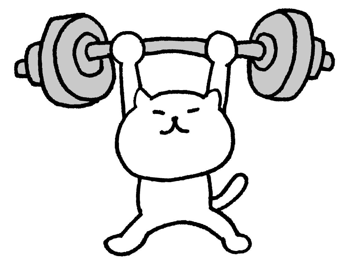 無酸素運動の筋トレに取り組む猫の画像