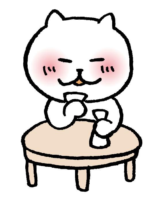 お酒を飲む猫の様子を表している